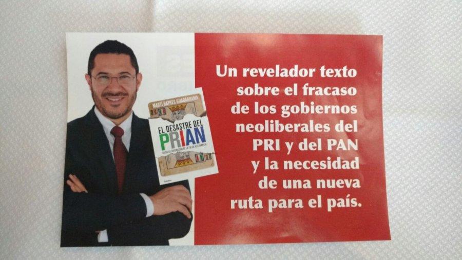 Presentara Marti libro contra el PRIAN