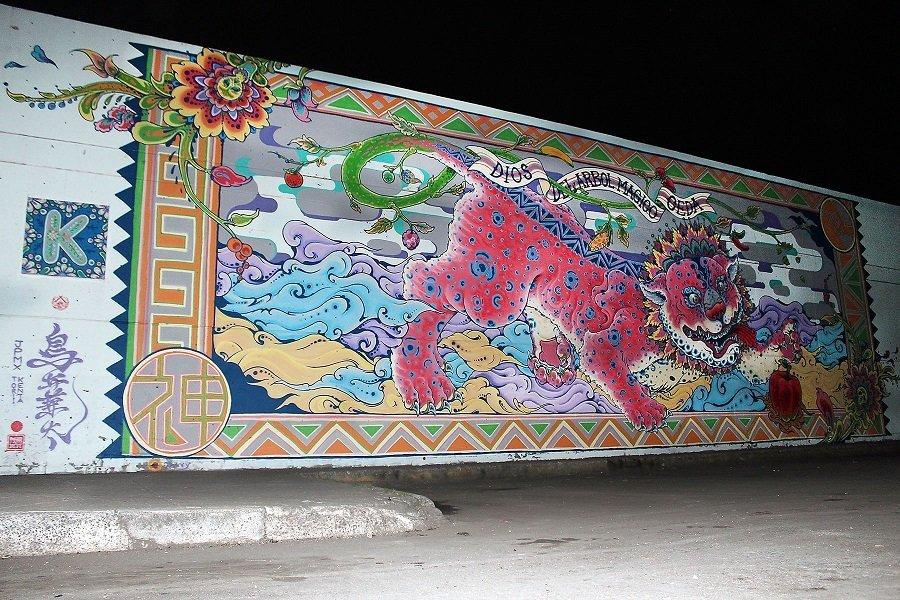 Concluye artista japones mural en Central de Abasto