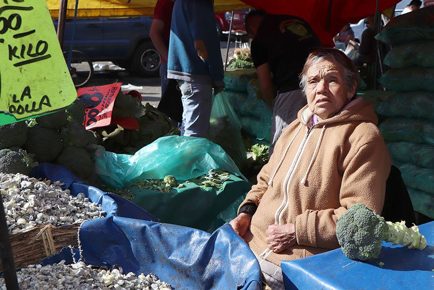 Dona Consuelo y sus buenas hierbas en la Central de Abasto